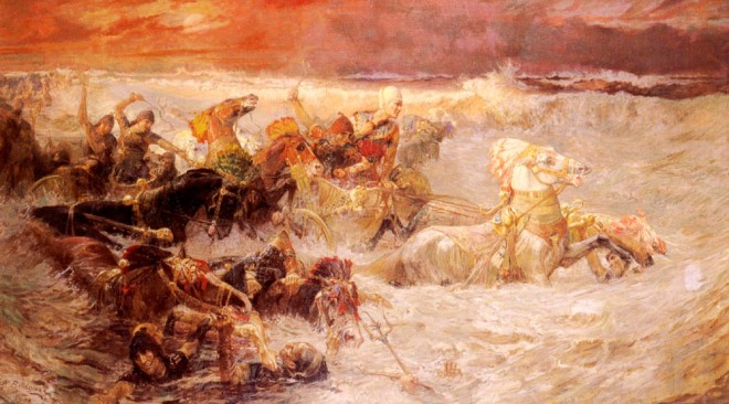 Bridgman_Pharaoh's_Army_Engulfed_by_the_Red_Seadefeat of Pharaoh's Army